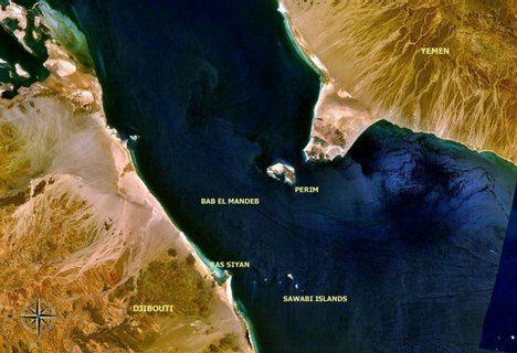 Lo stretto di Bab el-Mandeb.
