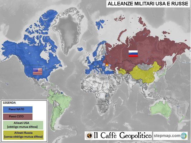 Il sistema di alleanze che lega gli USA e la Russia ai reciproci alleati.