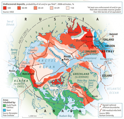 Una mappa che riporta i risultati della US Geological Survey; fonte: The Economist, 16 giugno 2012