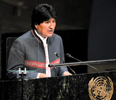 Morales parla in sede Onu (fonte: Pagina12)