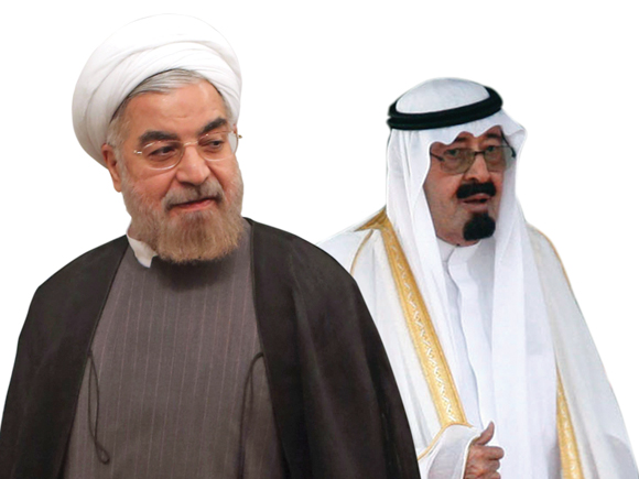 Il Presidente iraniano Hassan Rouhani (sx) e Re Abd Allāh