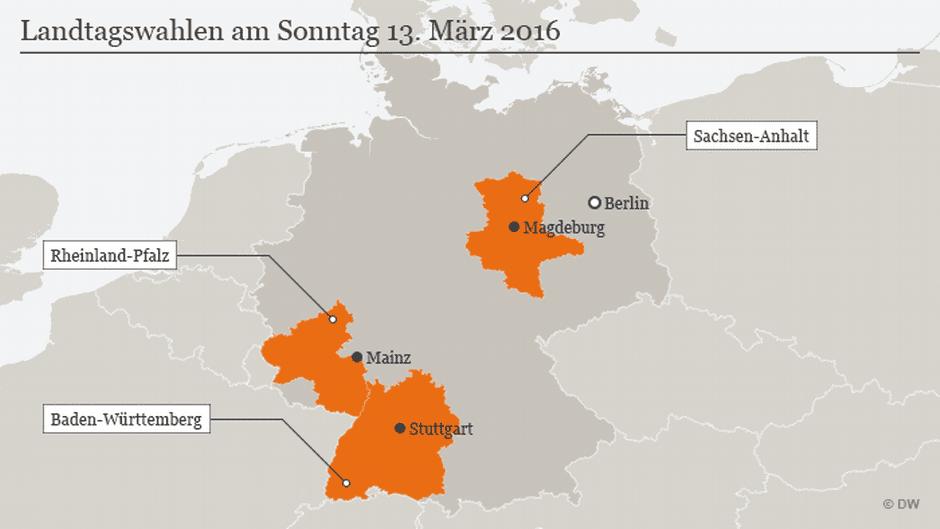Gli Stati al voto il 13 marzo. Fonte DeutscheWelle