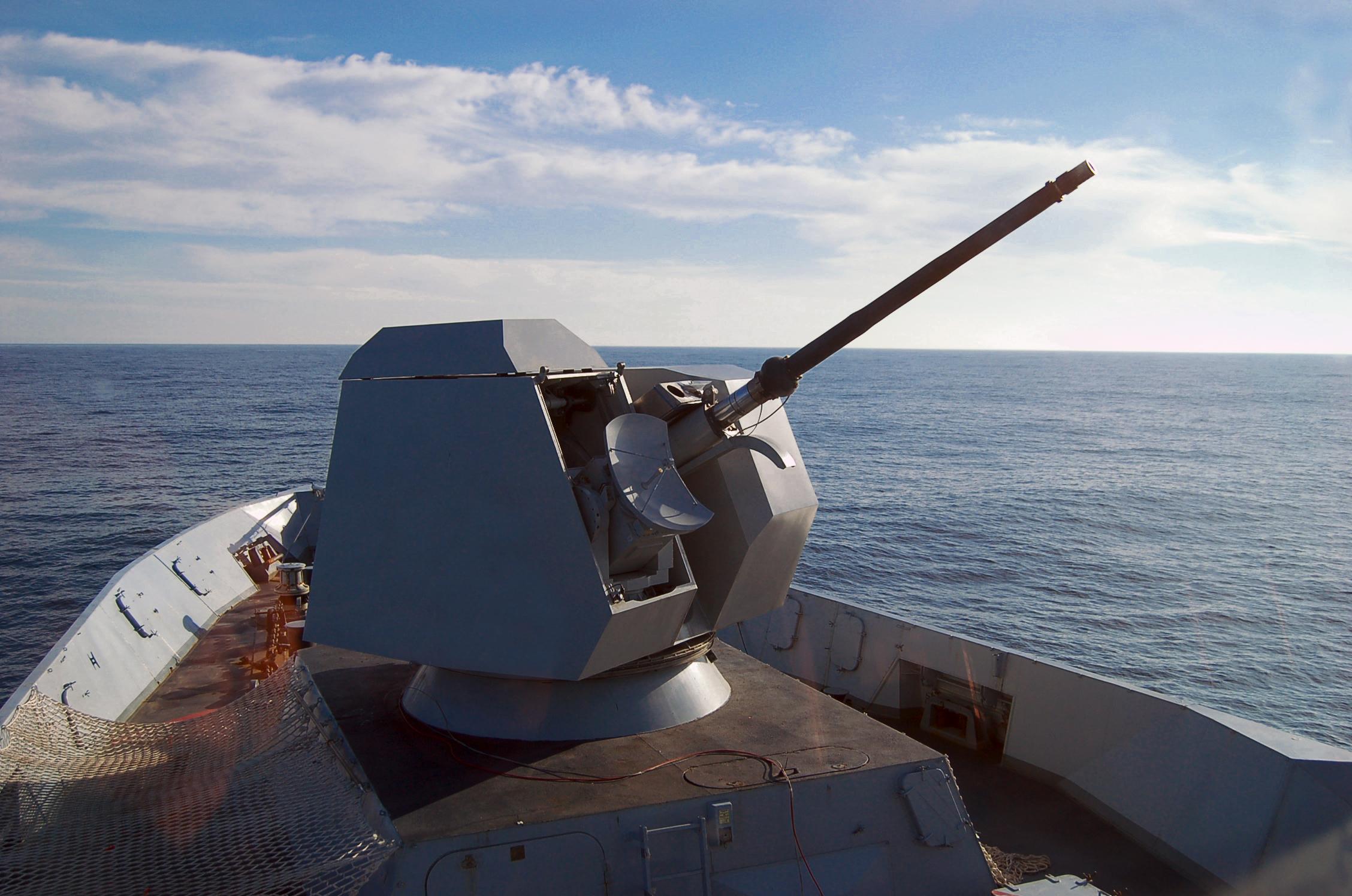 Fig.2 - Una torre da 76/62 mm dotata del kit Strales per il lancio di munizioni guidate