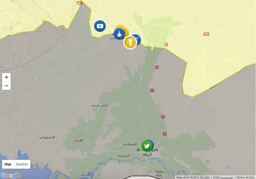 Le zone controllate dai Curdi (in giallo) nella loro avanzata verso Raqqa. Fonte: Syria liveuamap