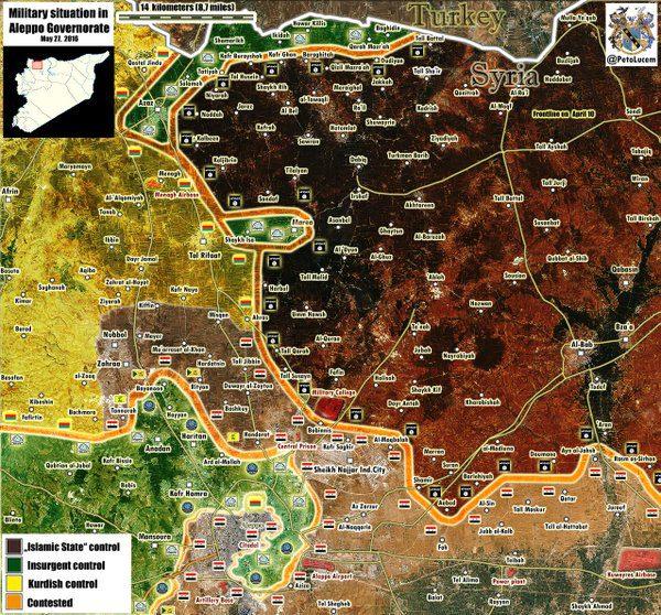 Zona a nord di Aleppo, tutti contro tutti. Al centro (verde) la zona di Mare' circondata dall'ISIS (colore più scuro). Fonte: @petolucem