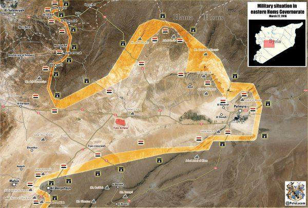 Mappa dela zona controllata dal regime siriano. al-Quraytayn è nell'angolo a sudovest.