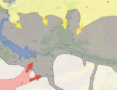 Le quattro direttrici degli attacchi Curdi verso Raqqa (in giallo). Fonte: @markito0171